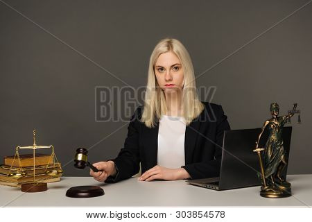 Advice And Justice Concept. Justice Scales, Justice Hammer And Litigation Document, Female Lawyer Wo