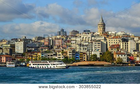 Istanbul, Turkey - Sep 28, 2018. View Of The Istanbul Waterfront From Golden Horn. Istanbul Is A Maj