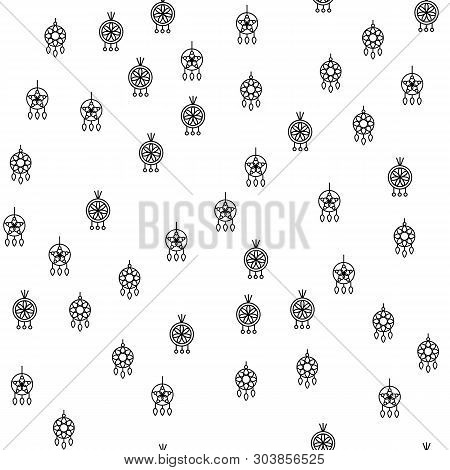 Various Jewelry Earrings Seamless Pattern Vector. Different Fashionable Stylish Circle Earrings Mono