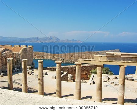 Ancient temple ruins in Rhodos, Greece, Europe poster