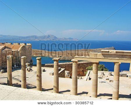 Ancient Temple Ruins In Rhodos, Greece