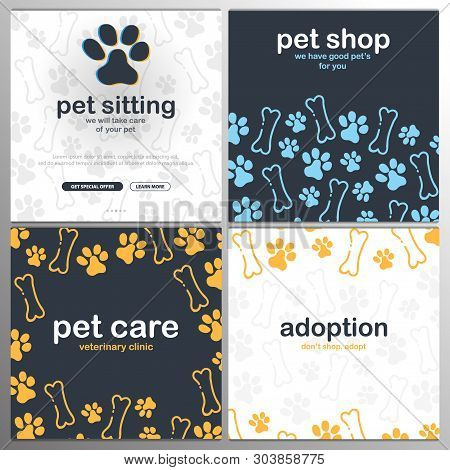 Pet Shop, Care, Pet Sitting. Adoption. Home Animals. Banner With Cat Or Dog Paws. Hand Draw Doodle B