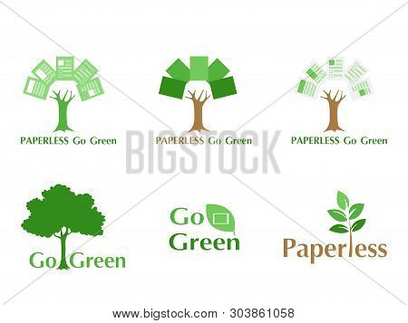 Set Of Paperless Logo Go Green Concept, Paper Tree, Document Leaf, Save The Planet, Earth, Tree, Lea