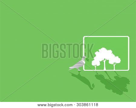 White Paper Bird With Green Leaf, White Tablet Device Gadgets White Trees On Green Display Paperless