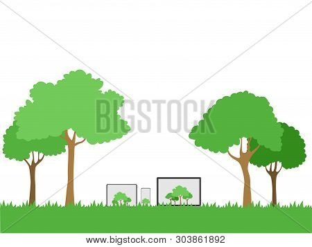 Set Of Device Gadgets Trees On White Display On Green Shadow Paperless Go Green Concept, Leaf, Tree,