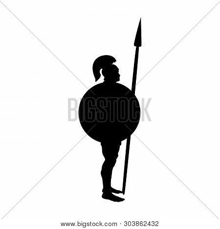 Ares God  War Silhouette Ancient Mythology Fantasy. Vector Illustration.