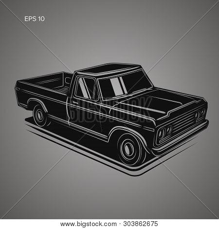 Old Vintage Retro Pickup Truck Vector Illustration.