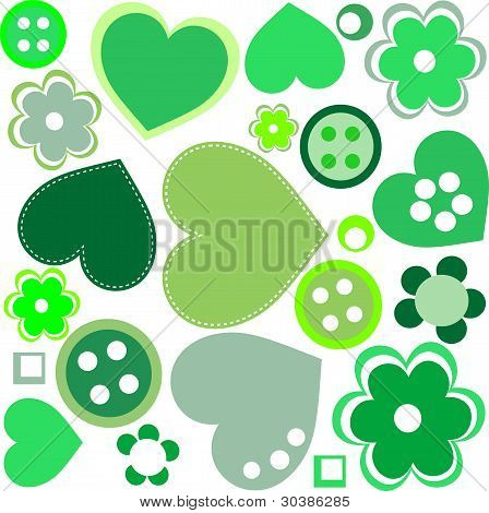 seamless pattern with sewing buttons, patches and flowers