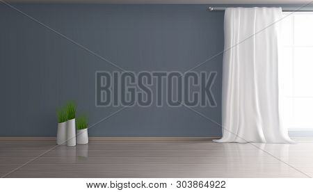 Home Living Room, Apartment Hall Empty Interior 3d Realistic Vector Mockup With White Curtain On Lar