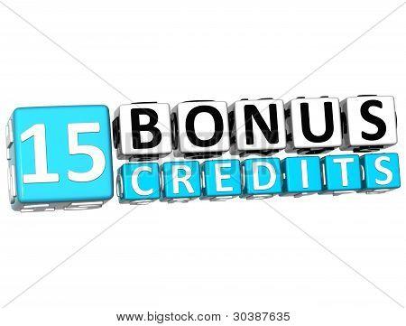 3D Get 15 Bonus Credits Block Letters