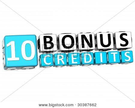 3D Get 10 Bonus Credits Block Letters