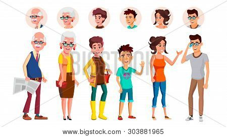 Collection Of Characters Person People Set Vector. Different Age Person Laughing Old Man With Newspa