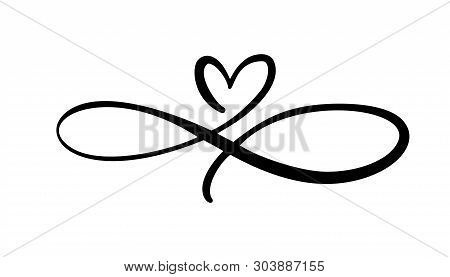 Love Heart In The Sign Of Infinity. Sign On Postcard To Valentines Day, Wedding Print. Vector Callig
