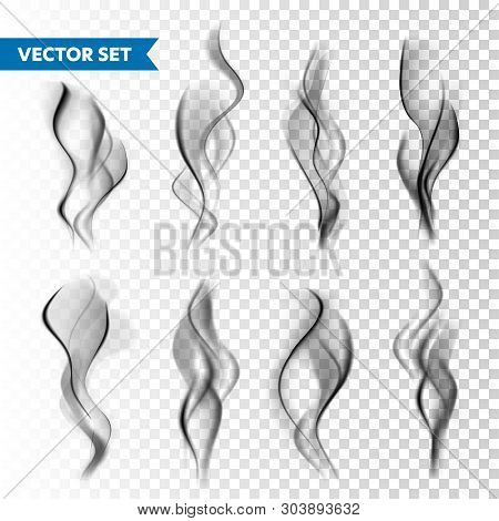 Realistic Cigarette Smoke Set Isolated On Transparent Background. Vector Vapor In Air, Steam Flow. F
