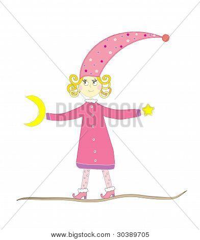 Vektor-Illustration von einem Märchen-Mädchen