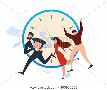 Cartoon People Office Worker Run. Deadline Alarm Vector Illustration. Clock Timer Countdown, Work St