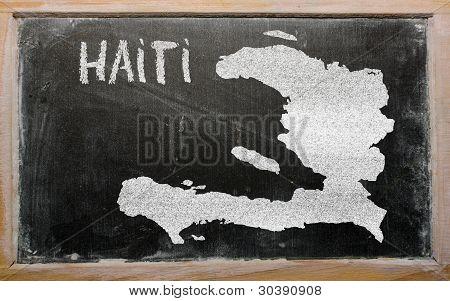 Outline Map Of Haiti On Blackboard