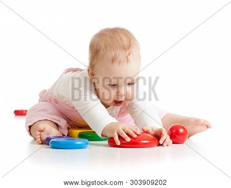 Funny Nursery Baby Playing With Toys Isolated Ober White Background