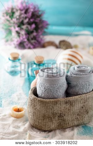 Spa And Wellness Setting With Marine Items And Towels. Dayspa Nature Products