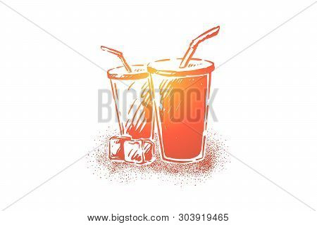 Tasty Soda, Fresh Cold Beverage In Disposable Cups With Straws, Cola And Ice Cubes, Thirst Quenching