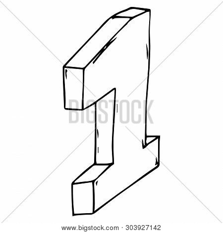 The Number 1 Icon. Vector Illustration 3d Figure 1. Hand Drawn Number One.