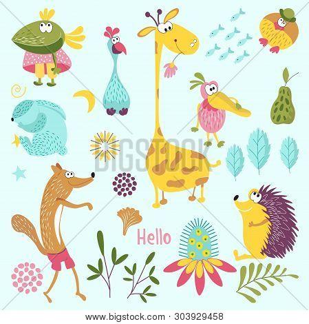 Set Of Forest Animals. Sly Fox, Hedgehog, Mr. Bird, Pelican, Rabbit, Crow, Giraffe, Flower. Suitable