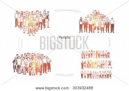 Crowds, young men and women standing together, mass gathering, team cooperation, cohesion and togetherness banner. Social unity, people communication concept sketch. Hand drawn vector illustration poster