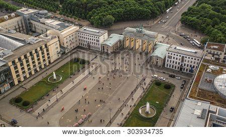 Aerial View Of Pariser Platz And Brandenburg Gate