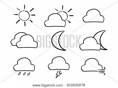 Black Color Handdrawing In Shape Of Weather Icon Set On White Background