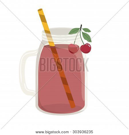 Glass With Cherry And Skinny Drink Vector Illustration Design