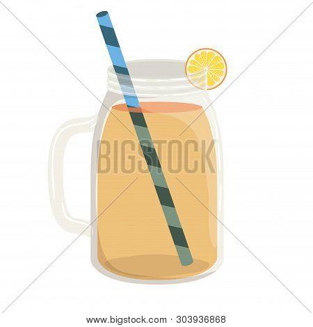 Glass With Lemon And Skinny Drink Vector Illustration Design