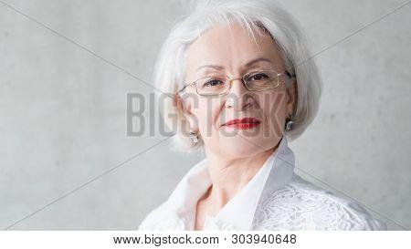 Senior Female Portrait. Self Assurance Control Independence. Smart Aged Business Lady. Overconfident