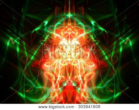 Symmetry and reflection. Light effects. Neon glow. Abstract blurred background. Colorful pattern. Texture. poster