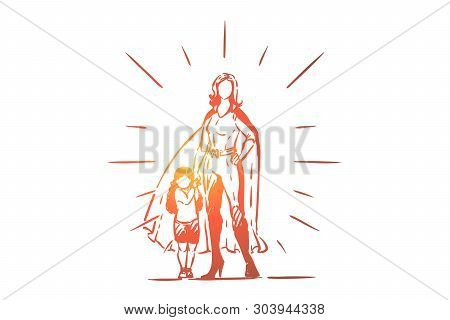 Best mother and daughter holding hands, female superhero in costume with cape, little girl with parent, motherhood. Super mom with kid, childcare concept sketch. Hand drawn vector illustration poster