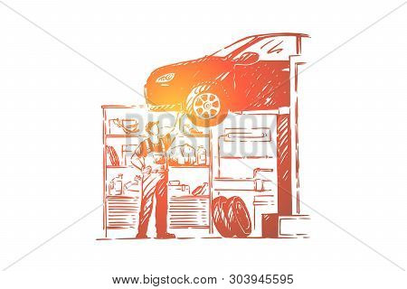 Car Repair Shop, Vehicle Workshop, Young Mechanic In Overalls, Faceless Repairman, Handyman Fixing A