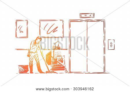 Janitor occupation, faceless young cleaner in uniform mopping floor, cleanup equipment, mop and detergents. Professional office cleaning service concept sketch. Hand drawn vector illustration poster