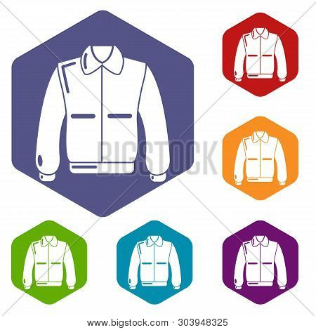 Varsity Jacket Icons Vector Colorful Hexahedron Set Collection Isolated On White