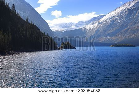 View of Spray lakes reservoir in Alberta, Canada