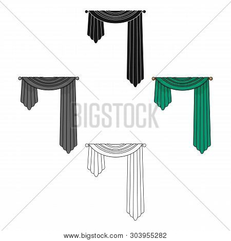 Curtains With Drapery On The Cornice.curtains Single Icon In Cartoon, Black Style Vector Symbol Stoc
