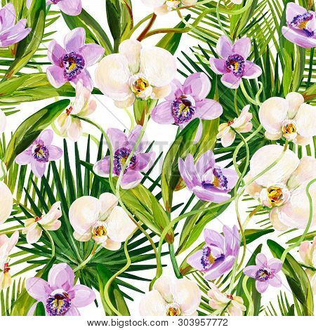 Gouache Seamless Tropical Pattern With Lilac And White Orchids