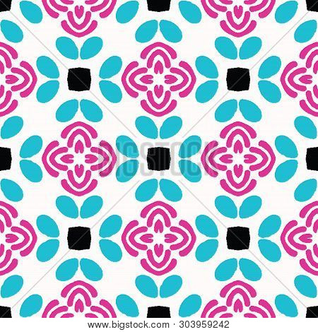 Bright Summer Daisy Flower Bloom Seamless Vectpr Pattern. Stylized Geometric Floral All Over Print.