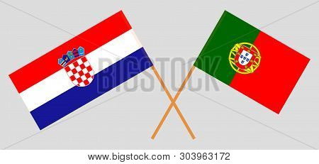 Croatia And Portugal. The Croatian And Portuguese Flags. Official Colors. Correct Proportion. Vector