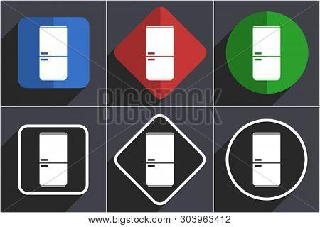 Fridge, refrigerator flat design icons with shadows