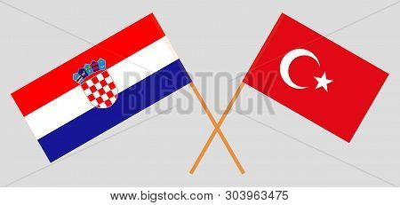 Croatia and Turkey. The Croatian and Turkish flags. Official colors. Correct proportion. Vector illustration poster
