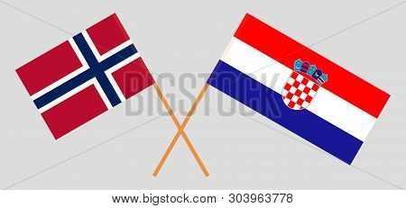 Croatia and Norway. The Croatian and Norwegian flags. Official colors. Correct proportion. Vector illustration poster