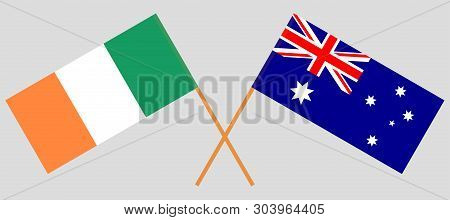 Australia And Ireland. The Australian And Irish Flags. Official Colors. Correct Proportion. Vector I
