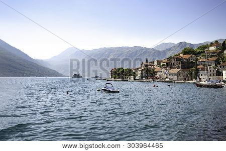 Perast, Montenegro - Circa August 2010 - Sight On Old Perast Town From Sea And On Island Gospa Od Sk
