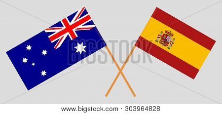 Australia And Spain. The Australian And Spanish Flags. Official Colors. Correct Proportion. Vector I