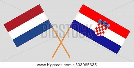 Croatia and Netherlands. The Croatian and Netherlandish flags. Official colors. Correct proportion. Vector illustration poster