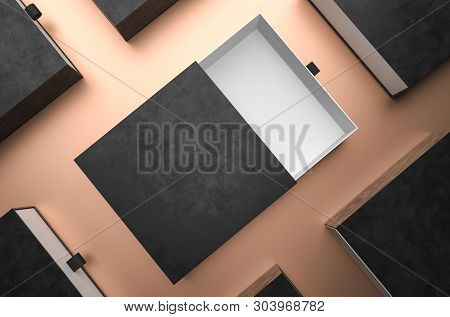 Elegant Open Black Gift Box Mockup On Black Background. Luxury Packaging Box For Premium Products Pr